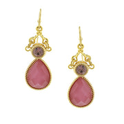 Gold Tone Pink Teardrop Earrings