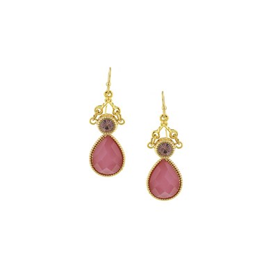 Gold Tone Pink Teardrop Ohrringe