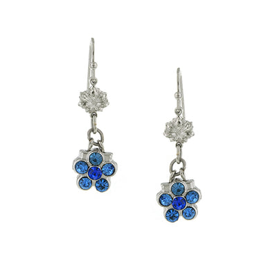 Crystal Flower Blue Drop Earrings