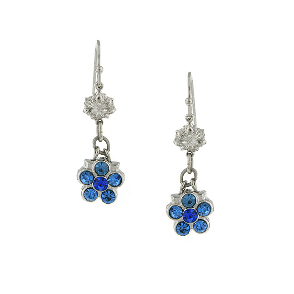 Silver Tone Flower Drop Earrings