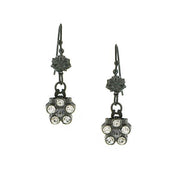 1928 Jewelry Silver-Tone Flower Drop Earrings
