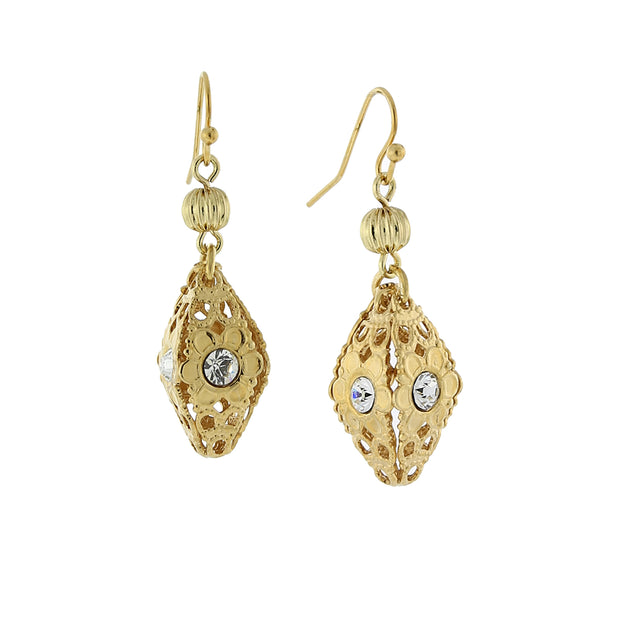Gold Tone Filigree Crystal Drop Earrings