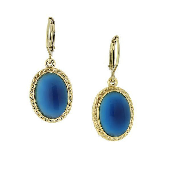 Fashion Jewelry - Gold Tone Blue Oval Drop Earrings