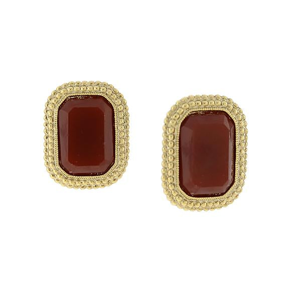 Gold Tone Rectangular Red Post Earrings