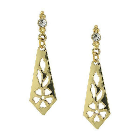 Gold Tone Cutout Drop Earrings with Crystal Post Accents