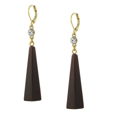 Gold Tone Dark Tortoise Brown Drop Earring