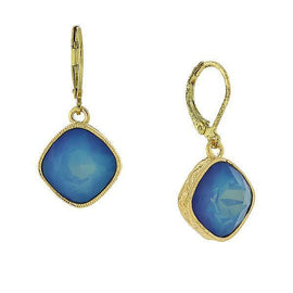Gold-Tone Drop Earrings Made with Blue Swarovski Crystal