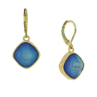 Gold Tone Drop Earrings Made With Blue Swarovski Crystal