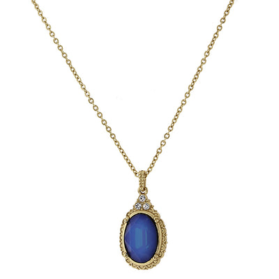 Gold-Tone Drop Necklace 16 - 19 Inch Adjustable Made With Blue Swarovski Crystal