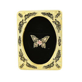 Framed Gold-Tone Pink Porcelain Rose Butterfly Filigree Brooch