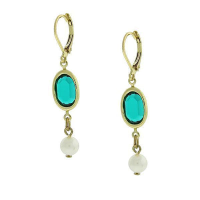 Gold-Tone Green And White Drop Earrings