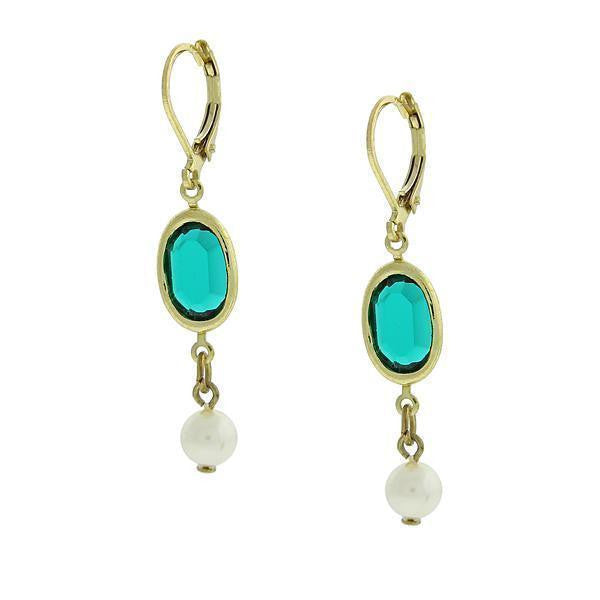Gold Tone Green And White Drop Earrings
