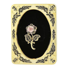 Framed Gold-Tone Pink Crystal and Porcelain Rose Filigree Brooch