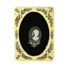 Framed Black-Tone Black Crystal Cameo Brooch
