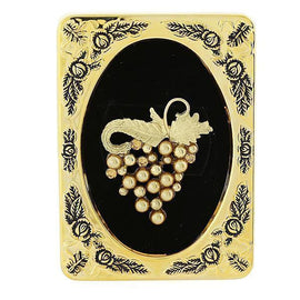 Framed Gold-Tone Lt. Colorado Topaz Simulated Pearl Grape Cluster Pin