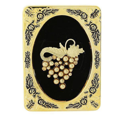 Framed Gold-Tone Lt. Colorado Topaz Costume Pearl Grape Cluster Pin