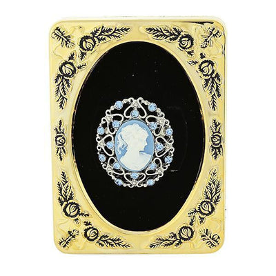 Framed Silver Tone Light Blue Crystal And Cameo Filigree Pin