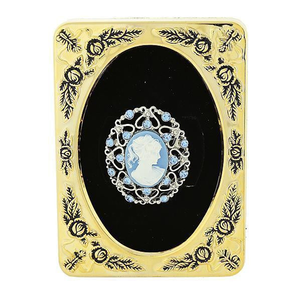 Framed Silver-Tone Light Blue Crystal And Cameo Filigree Pin