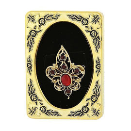 Framed Gold-Tone Red Crystal Filigree Pin