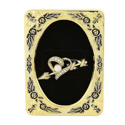 Framed Gold-Tone Crystal and Costume Pearl Heart and Arrow Pin