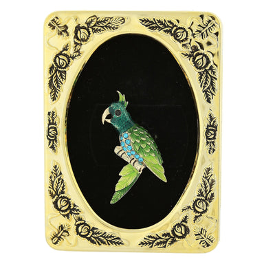 Framed Gold-Tone Green and Turquoise Color Parrot Bird Pin