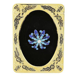 Framed Silver-Tone Blue Enamel Pin