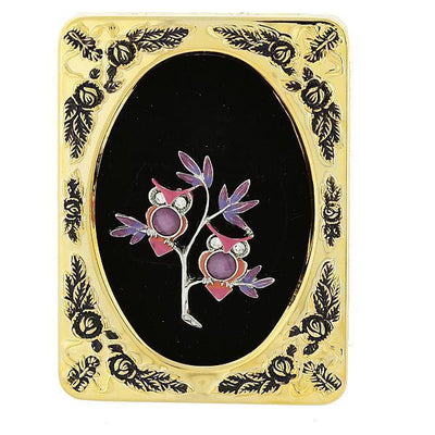 Framed Silver-Tone Purple and Pink Enamel Owls Pin
