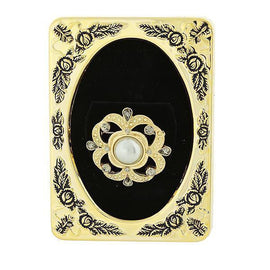 Framed Gold-Tone Grey Simulated Pearl w/ Black Diamond Accent Pin