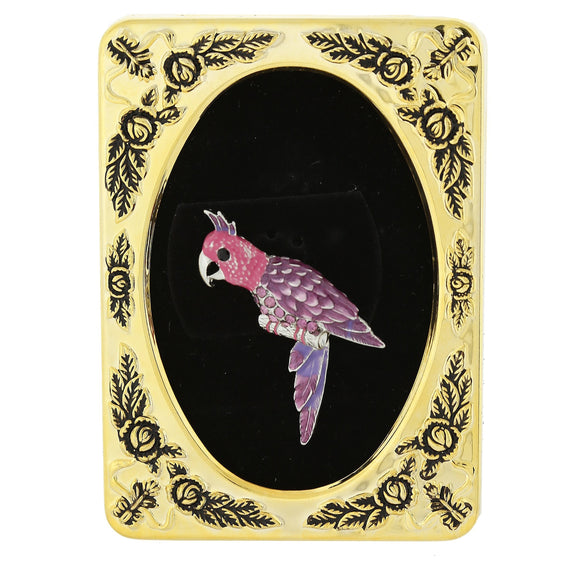 Framed Silver-Tone Purple and Pink Parrot Bird Pin