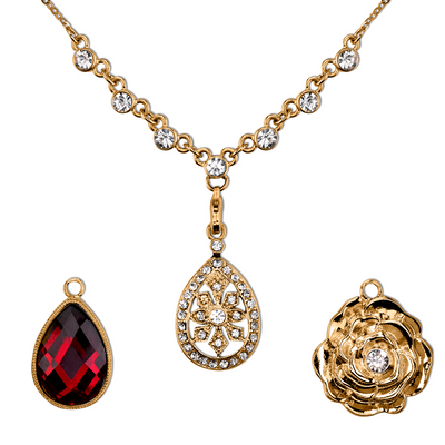Gold-Tone Red And Crystal Interchangeable Pendant Necklace Boxed Set 16 - 19 Inch Adjustable