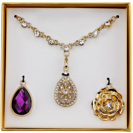 Inter changeable jewelry 1928 vintage style jewelry gold tone purple and crystal interchangeable pendant necklace boxed set aloadofball Image collections