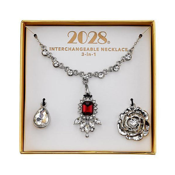 2028 silver tone red and crystal interchangeable pendant necklace boxe fashion jewelry 2028 silver tone red and crystal interchangeable pendant necklace boxed set aloadofball Choice Image