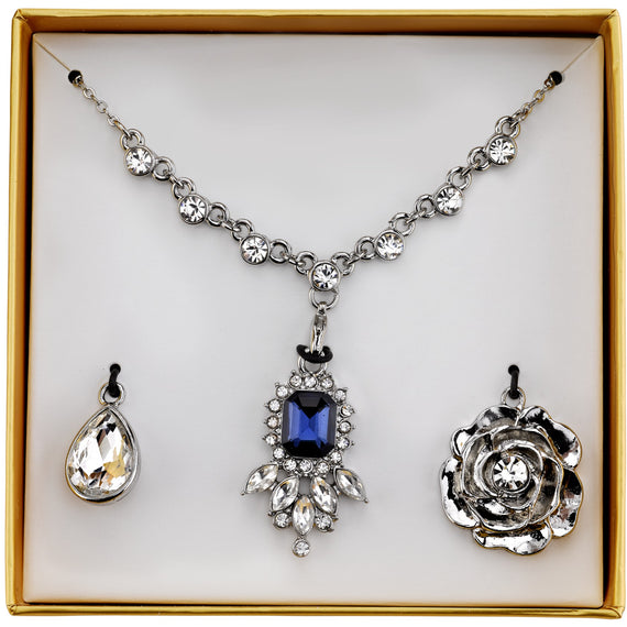 2028 silver tone blue and crystal interchangeable pendant necklace box fashion jewelry 2028 silver tone blue and crystal interchangeable pendant necklace boxed set aloadofball Choice Image