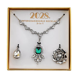 Green and Crystal Interchangeable Pendant Necklace Boxed Set