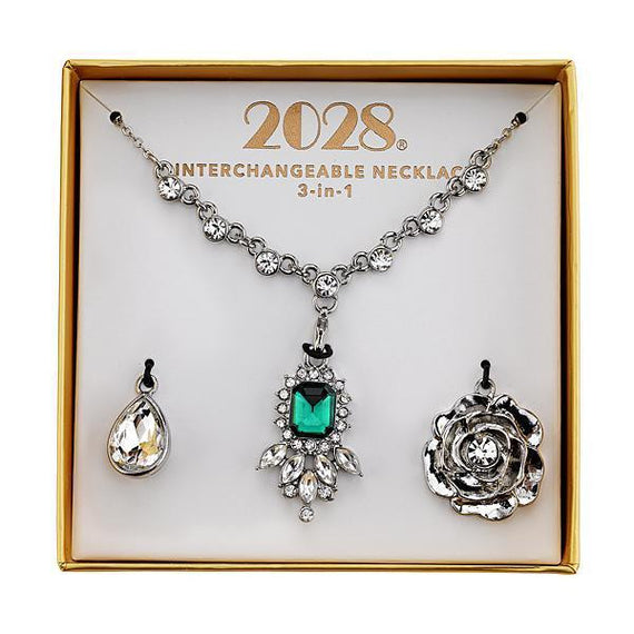 Fashion Jewelry - 2028 Silver-Tone Green and Crystal Interchangeable Pendant Necklace Boxed Set