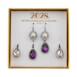 Silver-Tone Purple and Simulated Pearl Interchangeable Earrings Boxed Set