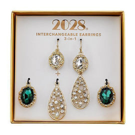 Gold-Tone Green and Crystal Interchangeable Earrings Boxed Set
