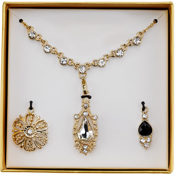 2028 gold tone crystal and black interchangeable pendant necklace boxe fashion jewelry 2028 gold tone crystal and black interchangeable pendant necklace boxed set aloadofball Choice Image