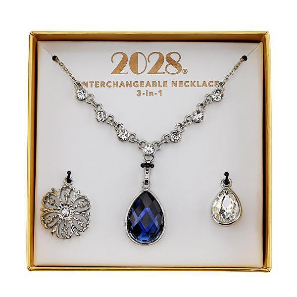 2028 Silver-Tone Blue and Crystal Interchangeable Pendant Boxed Set