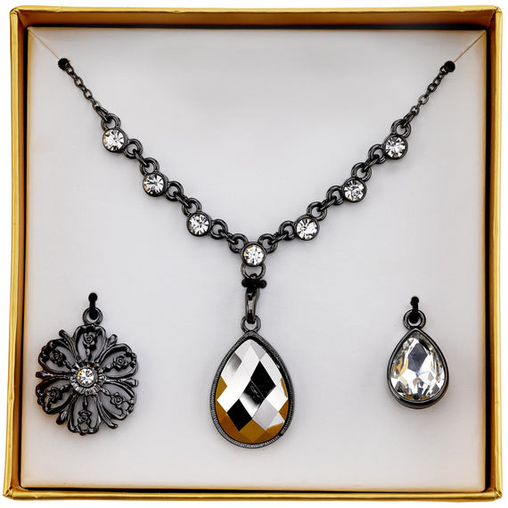 2028 hematite color crystal interchangeable pendant necklace boxed set aloadofball Choice Image