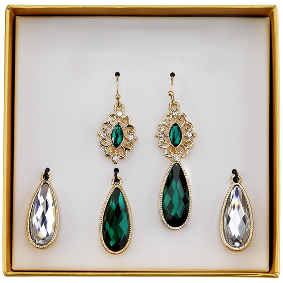 Fashion Jewelry - 2028 Gold-Tone Green and Crystal Interchangeable Earrings Boxed Set