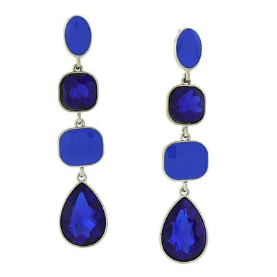 Silver Tone Blue Sapphire Linear Drop Earrings