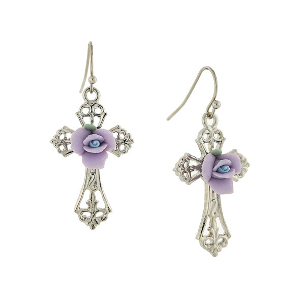 Porcelain Rose Cross Drop Earrings