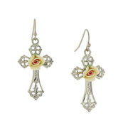 Silver or Gold Tone Porcelain Rose Cross Drop Earrings