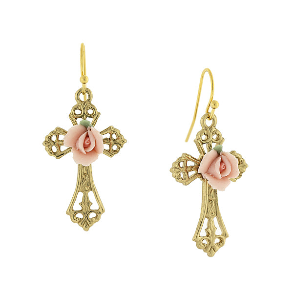 1928 Jewelry Gold Tone Porcelain Rose Cross Drop Earrings