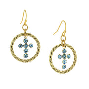 Gold-Tone Aqua Blue Crystal Cross Hoop Earrings