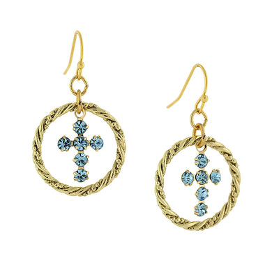 Gold-Tone Aqua Blue Crystal Corss Hoop Earrings