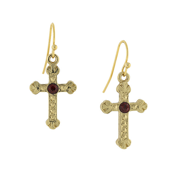Gold-Tone Red Crystal Cross Hoop Earrings