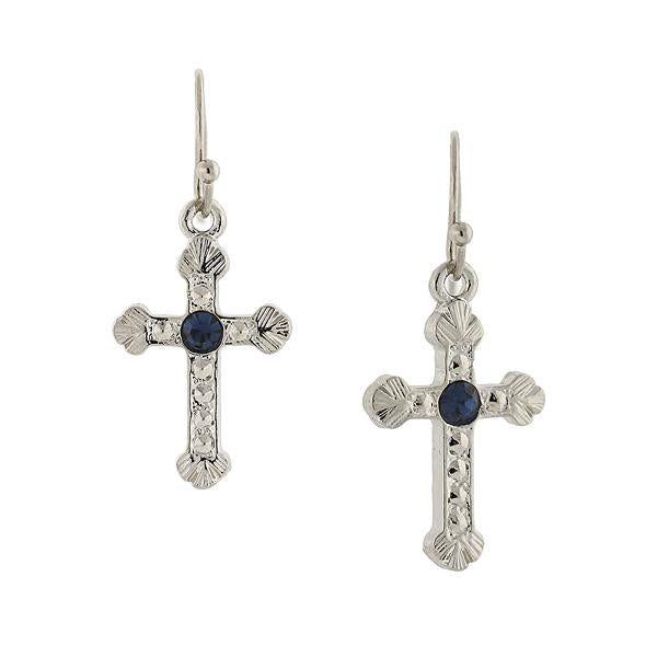1928 Jewelry Crystal Cross Earrings