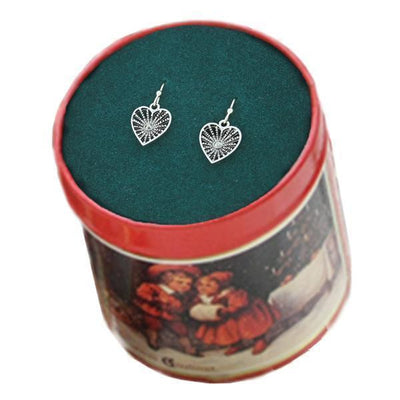 Silver-Tone Hematite Color Filigree Drop Earrings In Christmas Tin
